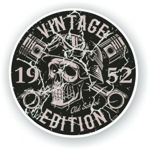 Distressed Aged Vintage Edition Year Dated 1952 Biker Skull Roundel Vinyl Car Sticker Decal 87x87mm